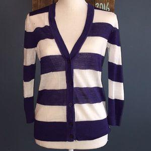 3/$15 LOFT | Purple Striped Cardigan